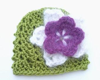 Baby Flower Hat -Crochet Baby Hat