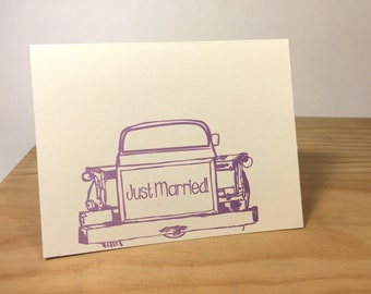 Just Married, Congratulations Letterpress Card