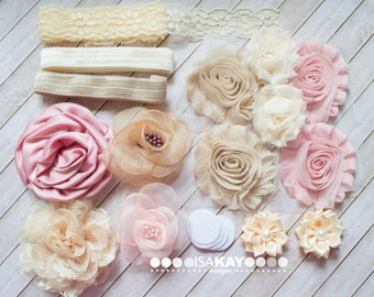 Vintage Chic Headband & Hair Accessory Starter Kit - Coordinating Elastic and Flowers to create Shabby Chic hair bands