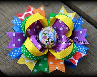 School Hair bow - Boutique bookworm school boutique hair bow - back to school hair bow - 5 inch boutique hair bow - school hairbow