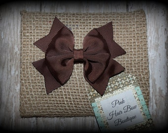 Brown Hair Bow ,  Brown Boutique Hair Bow, Brown Hair Clip, Brown bow, School Hair Bow, Brown hairbow, Brown hair bow for girls