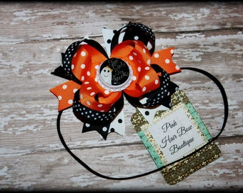 Halloween Hair Bow Headband, Ghost Hair Bow, Halloween Hair Bow, Too Cute to Spook Hair bow , Baby's First Halloween Hair bow, Halloween bow