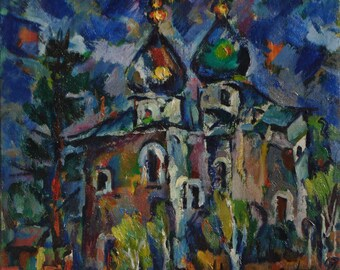 The Church 1997 oil on canvas 45,5cm х 49,5cm original oil painting by russian artist