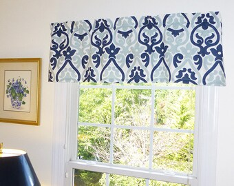 Navy Blue Window Valance - Blue Window Curtains  - Blue Valances - Alex Navy Blue Window Valance 52 x 16 with Ruffled Top