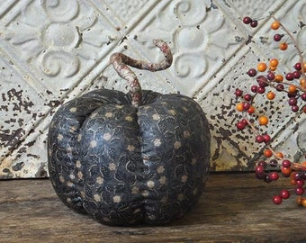 Country Rustic Pumpkins Black Stained Fabric