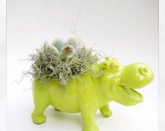 Succulent Planter Centerpiece - Moss Green Hippo Animal Planter - Desk Accessory - Valentine Gift