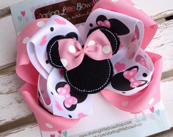 Miss Mouse Bow - Pink Miss Mouse Bow - Darling Little Bow Shop