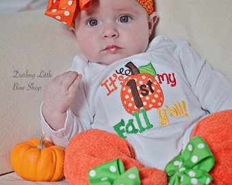 My 1st Fall y'all -- outfit for baby girls -- bodysuit and leg warmers with cute polka dot pumpkin -- First Halloween