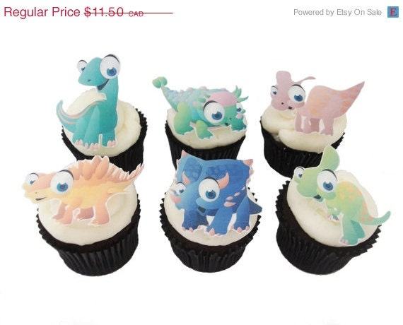 Dinosaur Cake Decorations Uk : CAKE TOPPER SALE Cupcake 12 Edible Dinosaur by ...