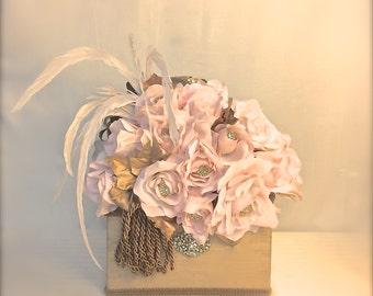 Pink Roses Wedding Card Holder, Wedding Money Box, Custom Card Box, Handmade, Gift Card Boxes,  Wedding Gift Box