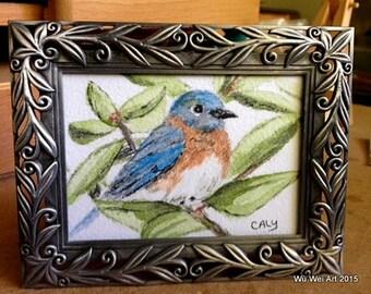 Framed Watercolor Bluebird ACEO