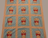 RESERVE for MARE Quilt:  Puppy dog summer quilt/blanket appliqued and embroidered cotton fabrics