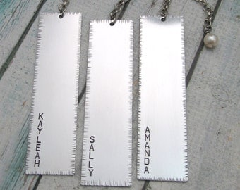 Personalized Bookmark - Hand Stamped Bookmark - Name Bookmark - Aluminum with Pearl - Rustic and Textured - Custom Bookmark - 1 Bookmark