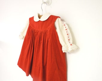 Vintage Baby Clothes, 1970's Saks Fifth Avenue Red Velvet and Cream Lace Baby Girl Dress, Vintage Baby Dress, Red Baby Dress, Size 6 Months