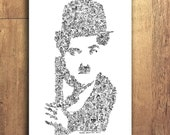 """Charlie Chaplin - The little tramp - Doodle portrait with stories and details - Slapstick Wall Art - Ltd ed of 100 - 8"""" x 12"""" or 12"""" x 16 """""""
