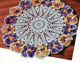 1950's Pansy Doily Vintage  Pattern Instant Download PDF