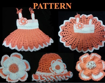 FOUR CROCHET PATTERNS for Baby Girl. Crochet Dress and Hat Set With two Flowers (3-12 month)