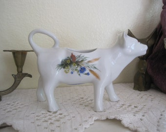 Vintage French Country Cordon Bleu White Hand Painted Porcelain Cow Creamer