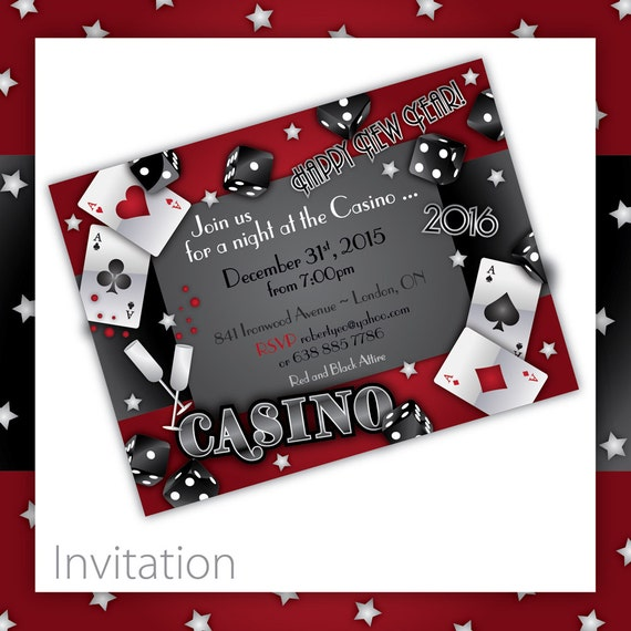 Items similar to RESERVED for Joanne New Years Casino Party – Casino Party Invitations