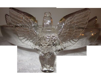 Vintage crystal Jeannette Glass Co. figurine Eagle bowl,charming glass,Shabby Chic,tabletop