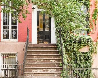 New York Art, West Village Architecture Photography, Door Prints, New York City Wall Art, Manhattan Prints, Green and Peach Prints, No. 4