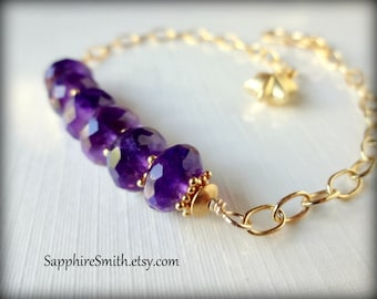 TAKE 28% OFF across the shop! (coupon code THANKYOU) Luxe Deep Violet African Amethyst Gemstones & Bali Gold Vermeil Bracelet, gifts for her