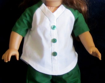 Softball Uniform in Dark Green and White with Baseball Cap Fits American Girl Dolls or Similar 18 Inch Doll