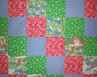 Upcycled Vintage Smurfs Patchwork  Quilt