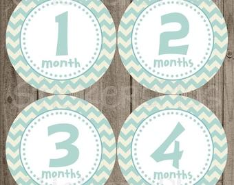 Monthly Baby Milestone Stickers Baby Month Stickers Boy Light Blue Cream Chevron Dots Bodysuit Stickers Baby Age Stickers Baby Number Gift