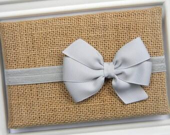 Grey Bow Headband - Newborn Bow Headband - Girls Grey Bow Headband