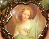 Vintage angel image bead charm small glass top cabochon diy jewelry