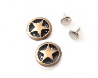 10 sets  20 mm buttons denim No Sew jean tack metal buttons Antique gold Button fastener with manual - Venus star buttons