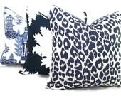 Schumacher Iconic Leopard in Ink Decorative Pillow Cover, 20x20 22x22 Eurosham, Lumbar pillow Toss Pillow, Accent Pillow, Throw Pillow