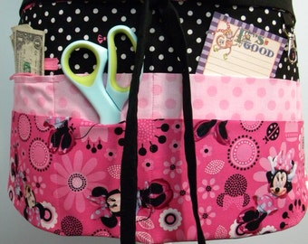 Teacher Crafter Vendor Utility Apron-Minnie Pink Flowers