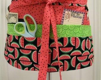 Teacher Apron-Crafter Vendor Utility Apron-Summer Watermelon