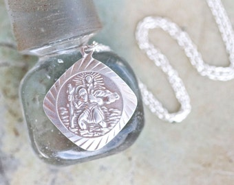 St Christopher Protect Us Medallion Necklace - Antique Sterling Silver Icon on Chain - Religious Jewelry