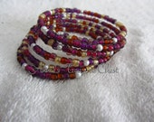 Violets and Pearl Beaded Memory Wire Coil Bracelet