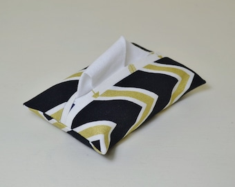 Fabric Tissue Holder - Pocket Tissue Pouch - Tissue Cover - Purse Accessory - Black Gold Chevron - White Arrows - Teacher Thank You Gift