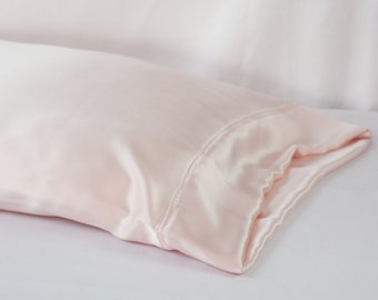 100% PURE Silk Pillowcase, Light Pink Charmeuse, Standard or King Size, French Seamed, Hypoallergenic, for Sensitive Skin, and Hair Care