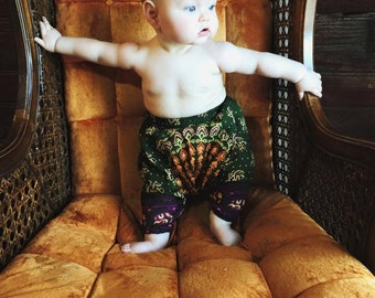 9-12 Months harem pants, Toddler pant, boho children's leggings, tribal hippie children's clothing, bohemian kids, rainbow gypsy pant