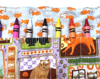Crazy Cats Crayon Roll