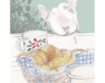 Bull Terrier Card - Pass the Croissants