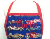 Hot wheels kids apron with red trim and ties