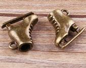 6pcs-3D Skating shoes charm- antique brass  DIY charm