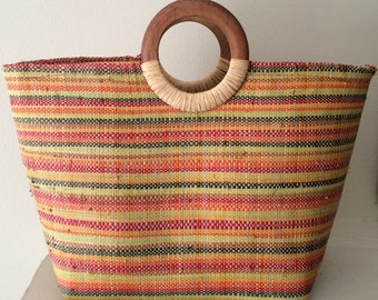 Multi - Colored 80's Straw Handbag with Wood Double Handles