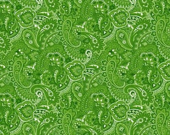 06318 -  Springs Creative Products Quilting Basics Gadabout Paisley in Green - 1 yard