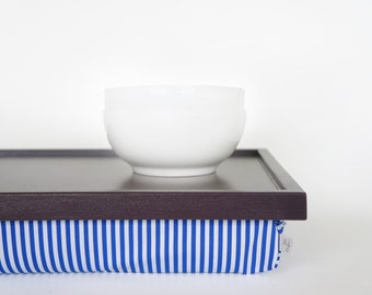 Breakfast serving pillow tray, laptop stand, riser - dark plum purple with blue and white striped Pillow