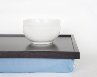 Bed serving tray, Breakfast Tray or lapdesk with cusgion- graphite grey with light blue pillow