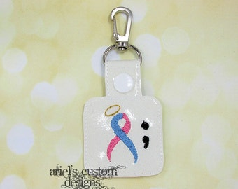Pregnancy Loss - Infertility - Babyloss - Miscarriage Awareness Semicolon Snap Tab Keyring - Keychain Keyfob