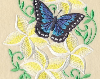 Frangipani and Butterfly Embroidered Flour Sack Hand Towel
